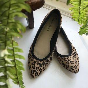 EUC genuine leather leopard print flats
